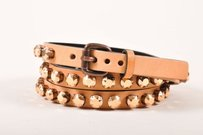 Ronald Pineau Nude Leather Rhinestone Studded Skinny Belt