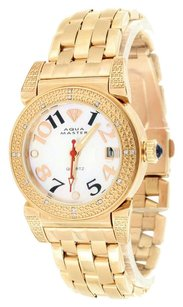 Other Rose Gold Finish Watch Ladies Aqua Master Real Diamond White Dial Womens Classy