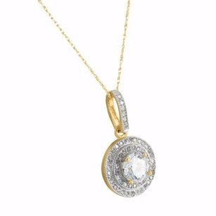 Other Round Saucer Solitaire Pendant Necklace Womens 10k Yellow Gold Lab Diamond Charm