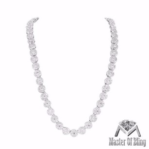 Round Solitaire Mens Necklace 14k White Gold Finish Vintage Simulated Diamonds