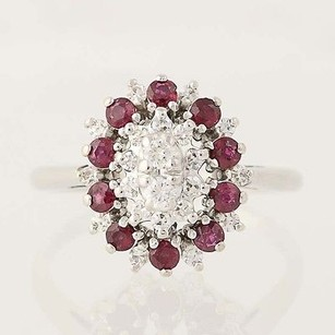 Ruby Diamond Cluster Cocktail Ring - 14k White Gold July Halo Tiered 1.13ctw