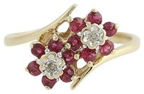 Ruby Diamond Floral Bypass Ring - 10k Yellow White Gold July .62ctw