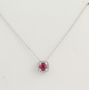 Ruby Diamond Pendant Necklace 17 34 - 14k Gold July Genuine .42ctw