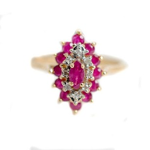 Ruby Diamonds Ring Marquise Shaped 14k Yellow Gold Womens