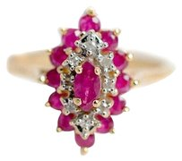 Other Ruby Diamonds Ring Marquise Shaped 14k Yellow Gold Womens