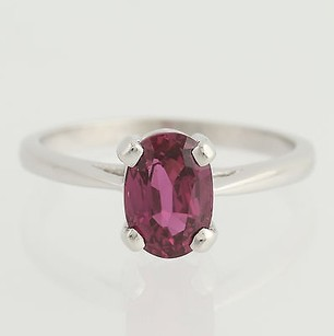Ruby Solitaire Ring - 14k White Gold July Birthstone 34 - Genuine 1.38ctw