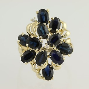 Other Sapphire Cocktail Ring 14k Yellow Gold Chunky Statement Diamonds Accents 6.63ctw