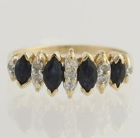 Sapphire Diamond Cocktail Ring - 14k Yellow White Gold Genuine .84ctw