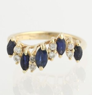 Sapphire Diamond Curved Ring - 14k Yellow Gold Swirl Marquise Estate 1.18ctw