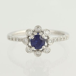 Sapphire Diamond Ring - 14k White Gold September .71ctw
