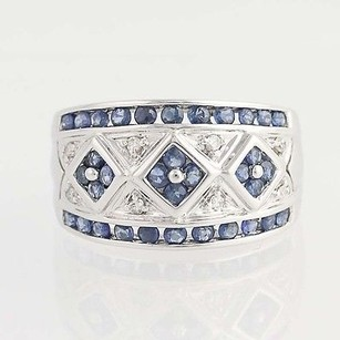 Sapphire Diamond Ring - 14k White Gold September Birthstone 1.40ctw