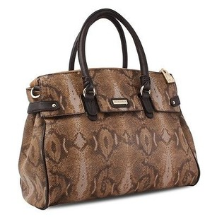 Other Miadora Rebecca Python Embossed Snake Framed Satchel in Brown