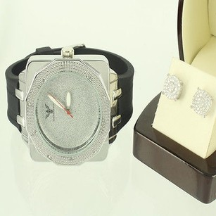 Other Satin Silver Design 10mm Men Silver Earring Drum Diamond King Box Face Watch Set