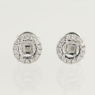 Other Semi-mount Halo Stud Earrings - 14k White Gold Natural 17ctw Diamonds