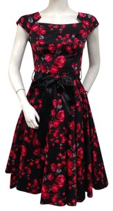 Other Hearts And Roses Black Red Vintage Floral Cap Sleeves Dress