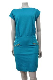 Mochanso Aqua Boat Neck Cap Dress