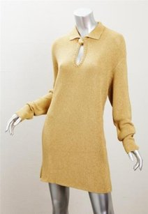 Other short dress Gold Genny Maglia Womens Vintage Knit Long Sleeve Shift 4814 on Tradesy