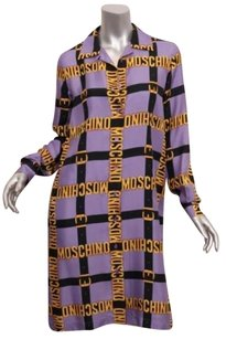 Other short dress Purple Moschino Couture Womens Belts Gold Silk Shirt Logo on Tradesy