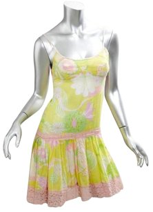 Other short dress Yellow Dg Dolce Gabbana Womens Floral Drop Waist Mini Slip 36xxs on Tradesy