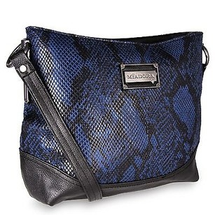 Other Miadora Bayla Zip Top Navy Snake Skin Embossed Bookbag Shoulder Bag