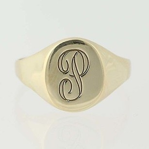Initial P Signet Ring - 10k Yellow Gold Mens