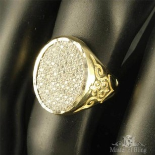 10k Yellow Gold Ring Mens Signet Style Oval Face Designer Pave Pinkygroom Band