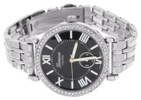 Other Silver Analog Ladies Wrist Watch Aaa Cubic Zirconium Accents On Black Dial Metal