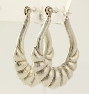Silver Toned Hoops - Womens Fashion Earrings Dangling Ribbed Design Vintage
