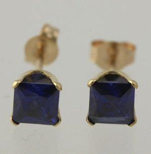 Other Simulated Blue Cubic Zirconia Stud Earrings - 10k Yellow Gold Womens Square