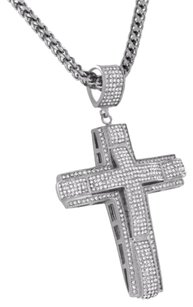 Other Simulated Diamond Cross Pendant Franco Necklace Pave Set Stainless Steel Jesus