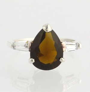Other Simulated Garnet Ring - Sterling Silver 925 Cubic Zirconia Pear Teardrop