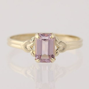 Other Simulated Pink Tourmaline Ring 10k Yellow Gold Emerald Solitaire
