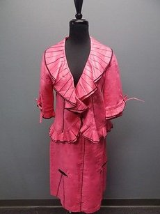 Svetlana Pink Black Collared Ruffle Trim Two Piece Skirt Suit 1188a