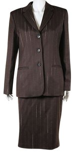 Los Capains Womens Brown White Skirt Suit 4448 1216 Wool