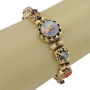Estate 14k Yellow Gold Multi Color Gemstone Slide Charm Bracelet