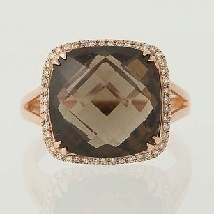 Smoky Quartz Diamond Halo Ring - 14k Rose Gold 8.74ctw