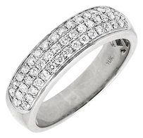 Solid 10k White Gold Three Rows Pave Genuine Diamond Wedding Ring Band .90ct