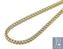 Solid 10k Yellow Gold 3mm Wide Franco Box Link Chain Necklace 24-36 Inches