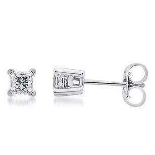 Solid 14k White Gold Princess Diamond Solitaire Studs Earrings 1.50 Ct