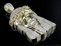 Other Solid Mens Yellow Gold Jesus Head Face Piece Genuine Diamond Pendant Charm 7.0ct