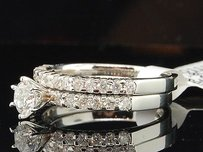 Diamond Solitaire Engagement Wedding Bridal Set 14k White Gold Round Ring 1 Tcw.