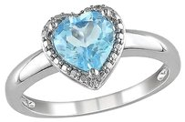 Other 1 13 Ct Tgw Blue Topaz - Sky Heart Love Fashion Ring In Sterling Silver