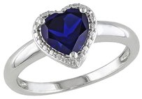 Other 1 78 Ct Tgw Blue Sapphire Heart Love Fashion Ring In Sterling Silver
