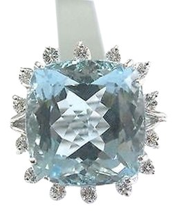 Fine Gem Aquamarine Diamond White Gold Solitaire W Accent Ring 14.42ct