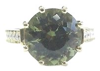 Other 18kt Gem Green Tourmaline Diamond Solitaire With Accent Yg Jewelry Ring 7.50ct