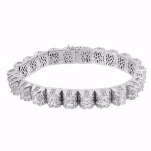 Solitaire Tennis Designer Bracelet Mens High End Dome Link 925 Silver Iced Out