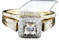 14k Womens Yellow Gold Diamond Princess Engagement Wedding Ring Band Bridal Set