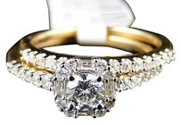 14k Womens Yellow Gold Diamond Round Cut Engagement Wedding Ring Band Bridal Set