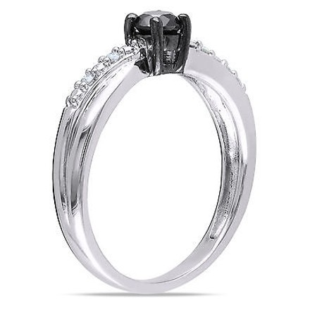 Other Sterling Silver 13 Ct Tw Black And White Diamond Fashion Ring Gh I3