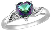 10k White Gold Diamond And 1 38 Ct Exotic Green Topaz Heart Love Ring Gh I2i3